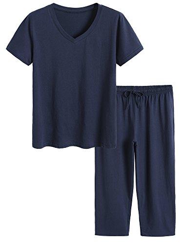 Latuza Damen Baumwolle Pyjama Set Tops und Capri-Hosen Nachtwäsche Mittel Marine -