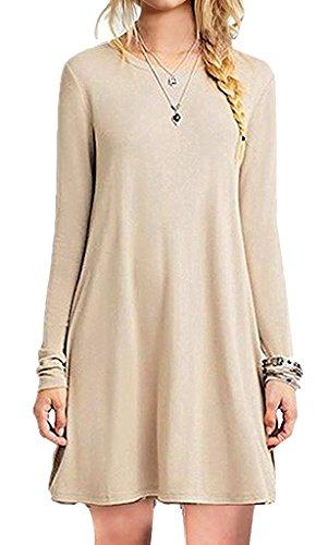 Minetom donna primavera maglione maglia vestito corto elegante casual moda maniche lunghe camicetta cocktail tops abito cachi it 50
