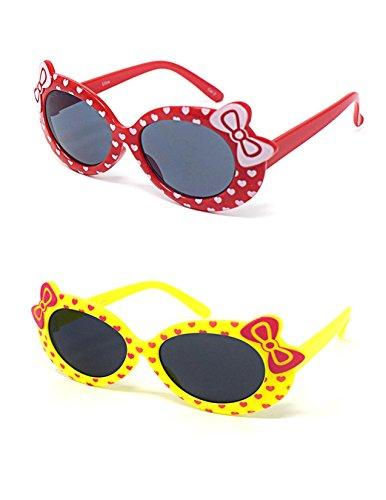2 x Kinder Kids Mädchen 1 Rot 1 Gelbe stilvolle Hello Kitty Style UV400 Sonnenbrille Schattierungen