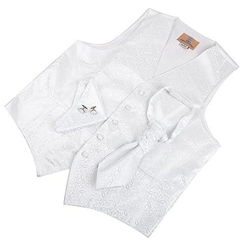 VS2004-XL Blanc Motif Gilets Boutons de manchette Mouchoir ??Ascot Tie Set par Y&G
