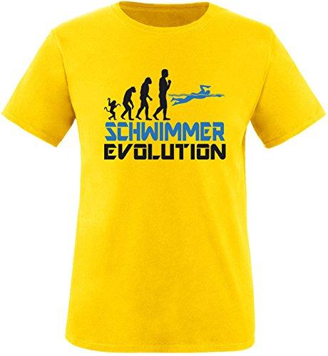 EZYshirt® Schwimmer Evolution Herren Rundhals T-Shirt Gelb/Schwarz/Blau