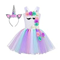 Baby Girls Unicorn Dress Birthday Pageant Princess Tulle Tutu Costumes Rainbow Dress UP With Headband