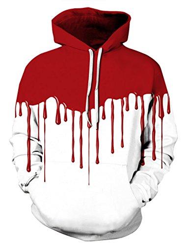 Halloween Pullover (KamiraCoco Herren Kapuzenpullover 3D Druck Muster Hoodie Weihnachten Halloween Sweatshirt Pullover (L / XL,)