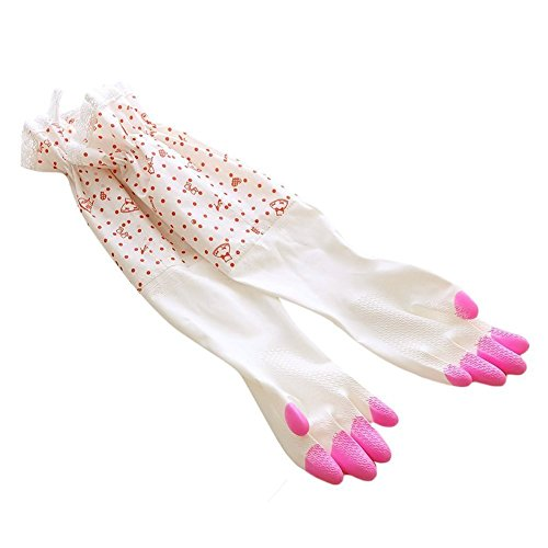 Damen Haushalts Kautschuk Handschuhe Latex Waschhandschuhe Gummihandschuhe Küche Teller Reinigung Rosa