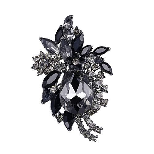 Flyonce Strass Kristall Party Vintage Style Blume Teardrop Brosche Schwarz Schwarz-Ton