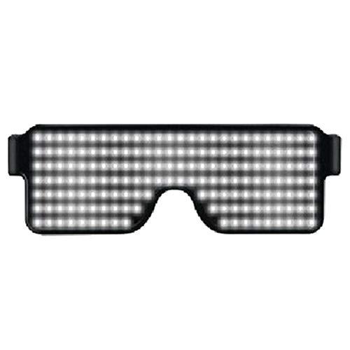 Meijunter LED Leuchtend Brillen - Wiederaufladbar Sonnenbrillen Blinkt Bezaubernd Gläser mit 8 Modi für Halloween Weihnachten Geburtstag (Weiß)