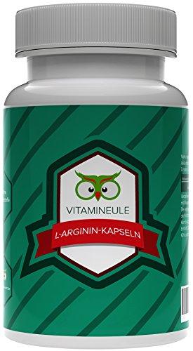 L-Arginin Kapseln - 450mg - Qualität aus Deutschland - kleine, vegane Kapseln - 100% Zufriedenheitsgarantie - reine L Arginin Kapseln mit deutscher Laboranalytik - ohne Zusatzstoffe - Vitamineule®