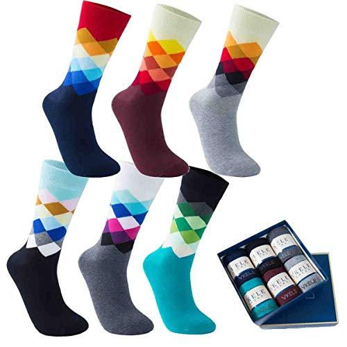 Vkele 6 Paar Fein Karierte Gemusterte Socken, Bunt Socken, Ideal als Ostergeschenke, Baumwolle, Gradient, Gr. 43-46 43 44 45 46 (Herren-socken Kariertes)