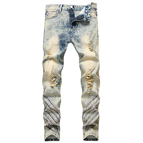 Dwevkeful Herren Destroyed Jeans, Nostalgiker Klassisch Denim Bermuda Pants Casual Stylischer Jogger Hosen Lang Trousers Loose Sporthose Straight