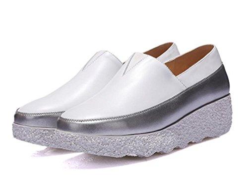 Frau im Frühjahr und Herbst Schuhe runden mit lame Schuhen Muffin mit schweren Boden Schuhe White