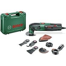 Bosch Multiherramienta PMF 220 CE Set ,3 hojas de sierra, placa lijadora, set de hojas de lija, rascadora flexible, cuchilla, tope de profundidad, sistema de aspiración, maletín (220W)
