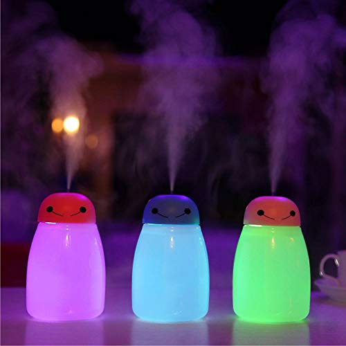 TFXHGGM Produttore ultrasonico di nebbia USB di diffusore di olio essenziale di aromi di umidificatore d'aria per auto con luce notturna a LED, blu