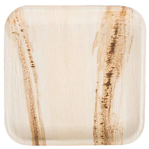 Box and tree|50 Pièces Vaisselle Jetable Biodégradable en Feuille de Palmier 24x24cm|Assiettes Jetable Biodégradable Compostables| Individuelle, Texture Décorative | Stable et Robuste