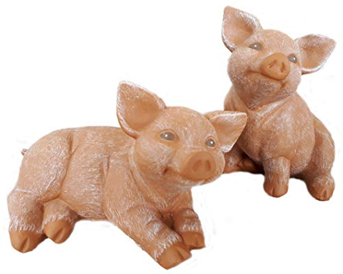 Steinfigur Schwein 2er Set, 127, 175 Ferkel, Gartenfigur Steinguss Tierfigur Terrakotta Patina
