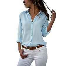 UJUNAOR Camicetta Donna Elegante Elegante Camicia a Maniche Lunghe in Tinta Unita da Donna da Ufficio in Chiffon Tinta Unita