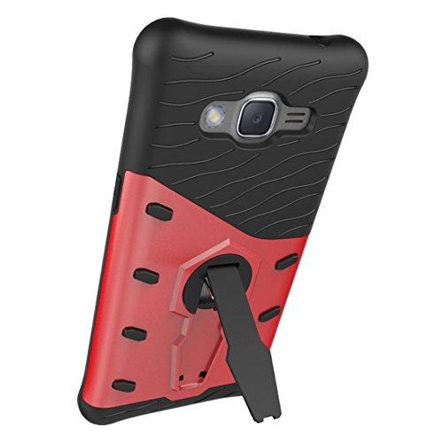 Samsung Galaxy J2 Prime Case Schock-resistent 360 Grad Spin Tough Rüstung TPU + PC Kombi-Fall mit Halter für Samsung Galaxy J2 Prime Fall by diebelleu ( Color : Black ) Red