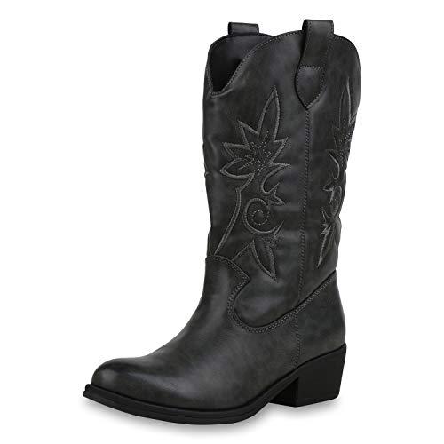 SCARPE VITA Damen Cowboystiefel Gefütterte Western Stiefel Cowboy Boots 173461 Grau 36 (Damen Cowboy-stiefel, Grau)
