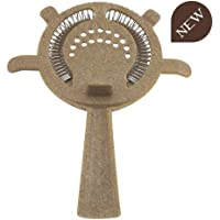 COCKTAIL STRAINER 4 PRONG-FILTRO 4 LINGUETTE Mix legno e Molla in Stainless Steel 18/10 AISI 304 B006WD