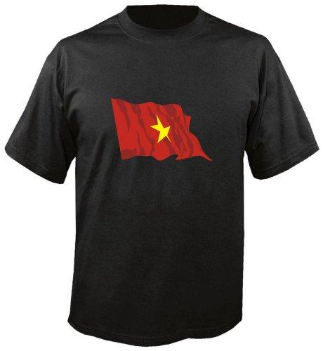 T-Shirt für Fußball LS196 Ländershirt mehrfarbig Vietnam - Vietnam Fahne freie Farbwahl