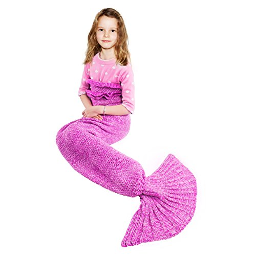 BATTOP Mermaid Schwanz Strickdecke für Kinder-(Kind, Rose)