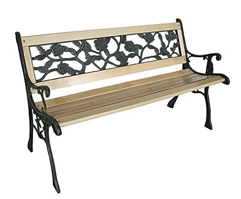 LIVIVO ® Cast Iron Frame Garden Bench with Wooden Slats and Black PVC Rose Flower Design Back Rest (Cast Iron Bench with Rose Back)