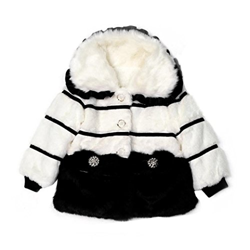 Baby Fellimitat Kunstpelz Jacke Hirolan Mädchen Winter Warm Jacke Lange Hülse Mantel Dick Snowsuit Kleidung Kinder Weich Rot Outwear 2-5Jahre Schwarz Rosa Kleider (85cm, Schwarz)
