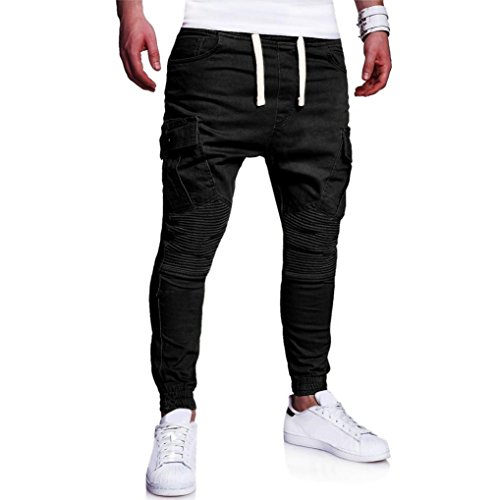 Goosuny Mode Herren Persönlichkeit Einfarbig Nähen Sporthose Mit Gummizug Lose Jogginghose Kordelzughose Laufhose Workout Laufen Training Fitness Winterhose Lang Trainingshose(Schwarz,L)