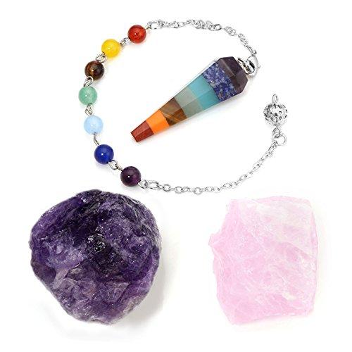 Crystaltears - ciondolo a forma di pendolo, con pietre preziose e quarzo rosa e ametista