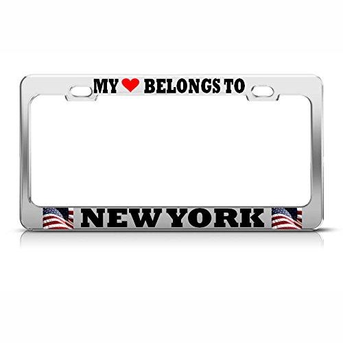 s to York Nummernschild-Rahmen USA Flagge Pride SUV Auto Tag perfekt für Männer Frauen Auto Garadge Dekor ()
