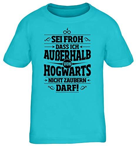 ShirtStreet Fanartikel Fan Kult Film Kinder T-Shirt Rundhals Mädchen Jungen Außerhalb von Hogwarts, Größe: 152/164,türkis