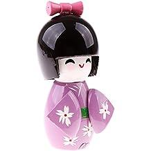 MagiDeal Carino Fatto A Mano Orientale Giapponese Kokeshi Ragazza Bambola Regalo Arredamento In Legno - Viola