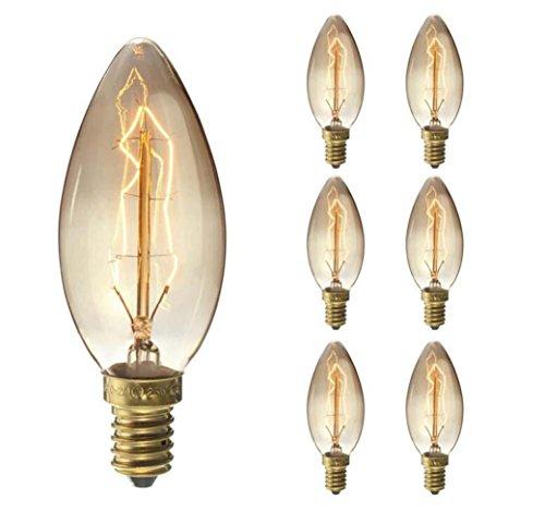 WYXIN Edison Vintage Light Bulb, Elfeland E27 40W Lampadina decorativa, Big-Globe Dimmerabile caldo bianco, Ideale per Nostalgia e Retro Illuminazione, Filamento a spirale, Modello G125 [Classe energetica E] , 7