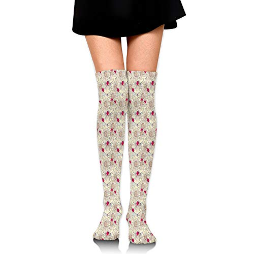 Hshbgiu Compression Socks,Bug and Daisy Pattern with Thriving Nature of Spring Season Theme,Knee High Compression Sock Women Men,Best Running,Athletic Sports,Crossfit,Flight Travel(25.5
