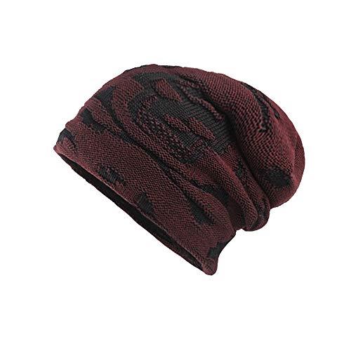 IMJONO Männer Thicken warm Gestrickte Mütze häkeln Winter Strick Schädel Slouchy Caps Hut (Rot,OneSize)