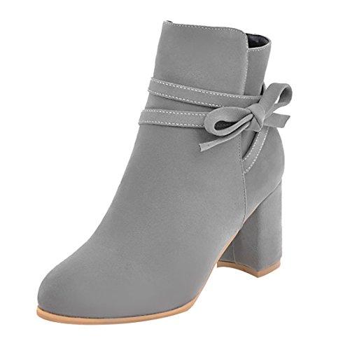Bottines Uh Chaussures De Lacet Noeud Cheville Gris Confortables FwX1Oq