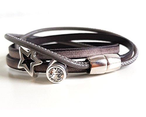 Wickelarmband Leder, Armband handmade taupe dunkel, mit Schmuckstein Strass und Stern