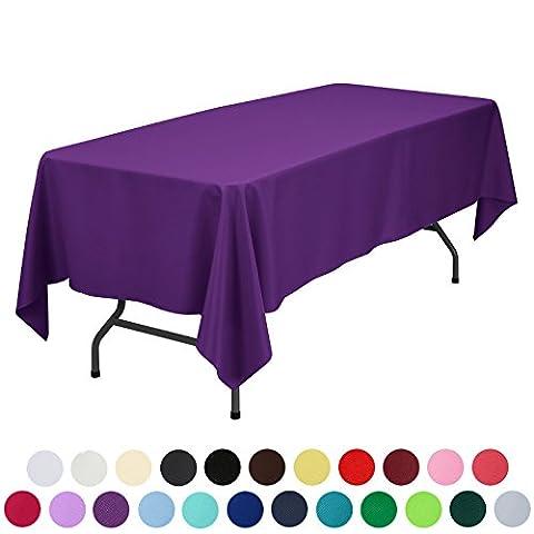 Veeyoo rond rectangulaire carré solide Polyester Mariage Restaurant fête Nappe, Tissu, violet, Rectangle-152 x 259 cm