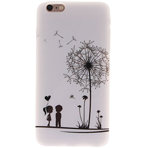 iPhone 5s 5 Hülle,iPhone 5s 5 Case [Scratch-Resistant] , ISAKEN iPhone 5s 5 Ultra Slim Perfect Fit Einzigartige Ozean Meer Design Niedliche Cartoon Malerei TPU Clear Transparent Protective back Hülle  White Back Black Dandelion Lover