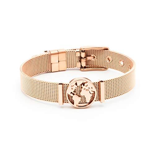 THIORA® - Mesh Armband Damen   Individuelle Anhänger Charms   Edelstahl   Charmband Set Frauen   Silber Rosegold Gold Bracelet (One World - Rosegold)