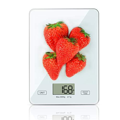 OTISA Küchenwaage Digitalwaage Professionelle Waage Electronische Waage, Küchenwaage mit LCD Display-wunderbare Präzision auf bis zu 1g(weiß)