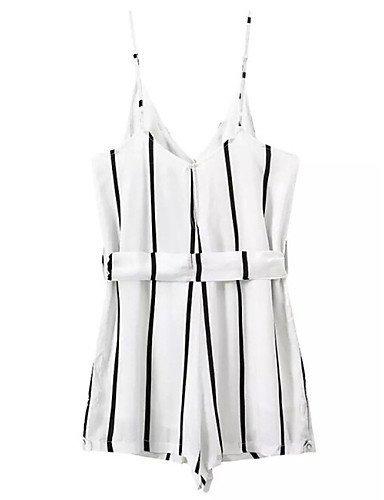 GSP-Combinaisons Aux femmes Sans Manches Sexy Mélanges de Coton Moyen Non Elastique white-xl