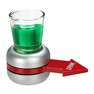 Relaxdays Spin The Shot Jeu d'hydratation avec flèche Rouge, 2 cl en Verre shotter, Jeu Amusant, Shot Spinner, Gris