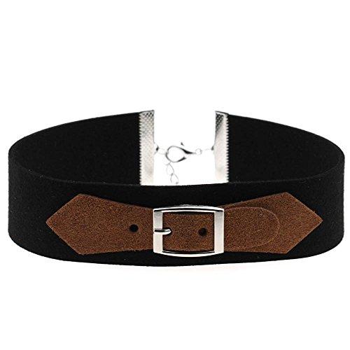 Macxy Fashion Black Velvet Metallschnalle Halskette-Kragen Halskette silberne Schnalle [Silber Bukle Kaffee]