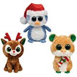 TY Beanie Boos - Christmas Set of 3 (Comet Reindeer, Fairbanks Penguin & Candy Cane Mouse)