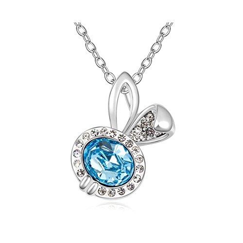 DEPOT TRESOR Collier plaqué or blanc avec pendentif en Cristal SWAROVSKI ELEMENT NEUF LIVRAISON GRATUITE Couleur - Prune Bleu aigue marine