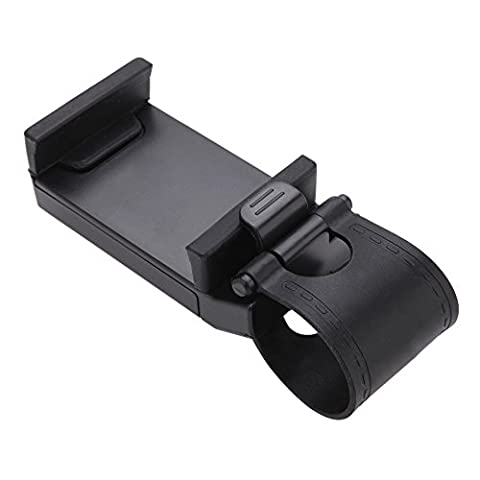TOOGOO(R) Cell Phone Holder Mount Clip Buckle Socket Hands Free on Car Steering Wheel - Better View to Your iPhone 6 5S 5G 4 4S, HTC one, Samsung Galaxy S5 S4, Google Nexus 5 and Smart Cellphones - Black