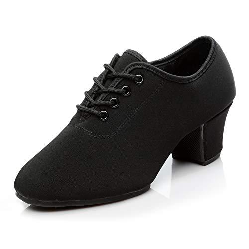 HIPPOSEUS Zapatos de Baile Latino para Mujer Negro Oxford Tela Salón Suela de Goma Zapatos de Baile...