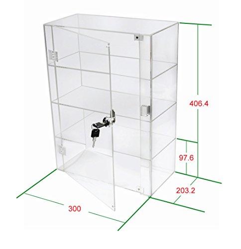 1klar Acryl Display Case mit Hochglanz Front Tür & Sicherheit Schloss db089b-08in