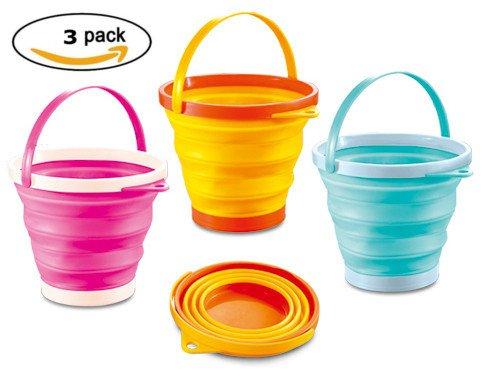 ToyZe? Foldable Pail Bucket Silicone Collapsible Bucket Multi Purpose 2 Liter, Half Gallon by ToyZe (Gallone Waschen Auto)