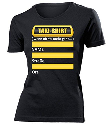Frauen Taxi Kostüm - Taxi Shirt wenn Nichts mehr geht 5335 Oktoberfest Wiesn Frauen Damen T Shirt Oberteile Halstuch Kostüm Lederrock BH Push Up Schwarz XL